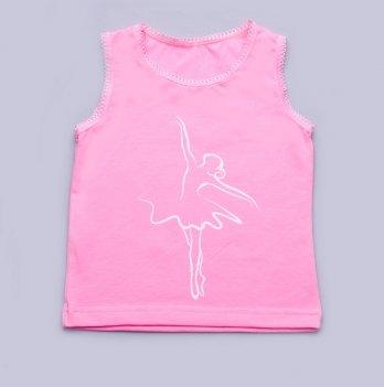 Майка для девочки Модный карапуз, с широкими бретельками, розовая