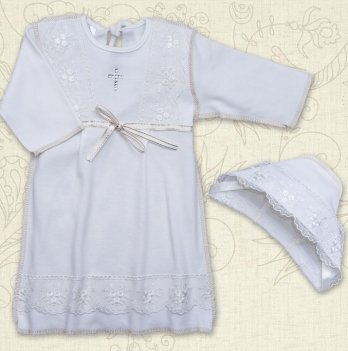 Сорочка для Крещения девочки, Бетис Христина-2, с шапочкой, д.р., интерлок, молочный