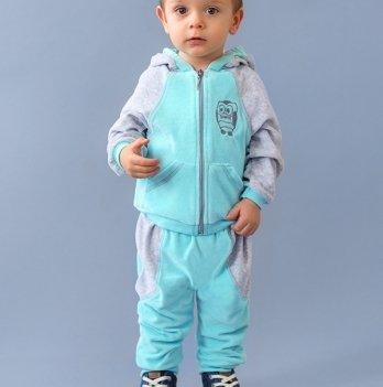 Велюровый костюм для малышей Модный карапуз, серый с голубым 03-00447