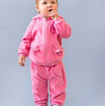 Велюровый костюм для малышей Модный карапуз, серый с розовым 03-00447