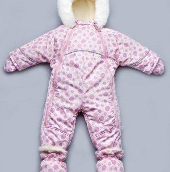 Детский зимний комбинезон-трансформер на меху для девочки Модный карапуз, розовый 03-00589
