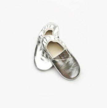 Чешки кожаные детские Модный карапуз, серебряные 06-00009
