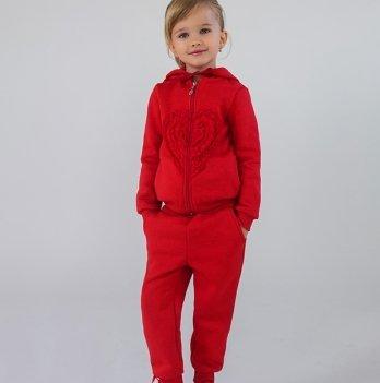 Утепленный спортивный костюм для девочки Модный карапуз, коралл 03-00613
