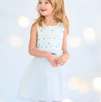 Платье нарядное для девочки Модный карапуз, изумрудный горох 03-00688