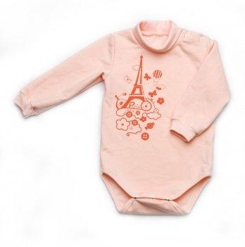 Боди для новорожденного из футера с длинным рукавом Модный карапуз, персиковый 302-00015