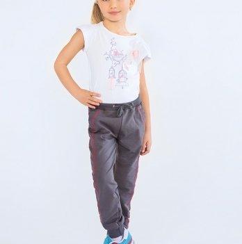Брюки для девочки спортивные Модный карапуз, серые 03-00570