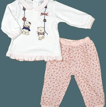 Комплект (кофточка + штанишки) для девочки Twetoon, велюровый, персиковый