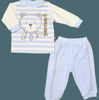 Комплект (кофточка + штанишки) для мальчика Twetoon, велюровый, голубой