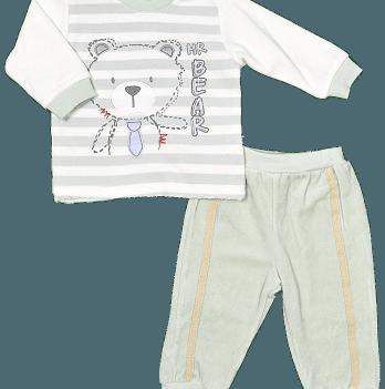 Комплект (кофточка + штанишки) для мальчика Twetoon, велюровый, серый