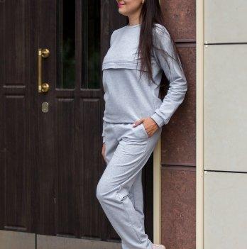 Спортивный костюм для кормящих мам Lullababe базовый Long, серый