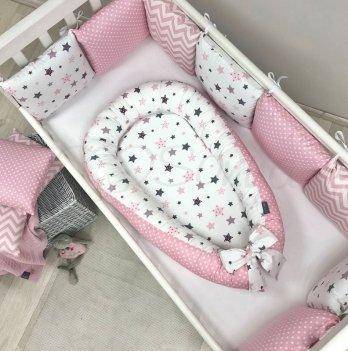 Кокон для новорожденных Маленькая Соня Baby Design Stars серо-розовый Розовый 5019422