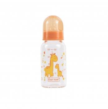 Бутылочка стеклянная 0+ Baby Team 1200 оранжевый 150 мл