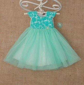 Платье Бетис Бриллиант с заколкой атлас/фатин Ментоловый 27078192 1,5-3 года