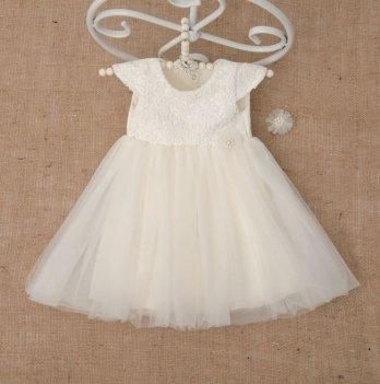 Платье Бетис Бриллиант с заколкой атлас/фатин Молочный 27078195