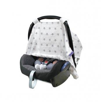 Защитная накидка-канопи на автокресло Dooky Adjustable Car Seat Canopy Silver Stars Muslin