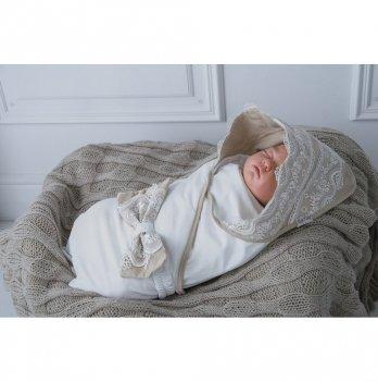 Трикотажный конверт-плед для новорожденных Изысканность Magbaby бежевый