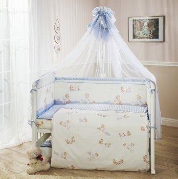 Комплект постельного белья для кроватки Perina Тиффани неженка голубой из 3, 4, 6, 7 элементов