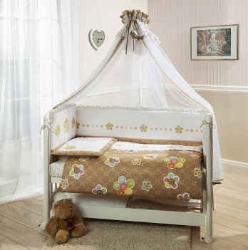 Комплект постельного белья для кроватки Perina Тиффани Цветы из 3, 4, 6, 7 элементов