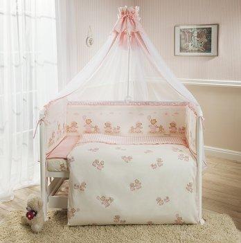 Комплект постельного белья для кроватки Perina Тиффани Неженка розовая из 3, 4, 6, 7 элементов