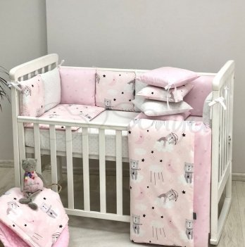Комплект постельного белья Маленькая Соня Baby Design Коты в облаках Розовый 0220398 6 предметов