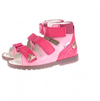 Босоножки ортопедические кожаные открытый носок Ortho Cyborg 1199-44, нежно и ярко-розовый
