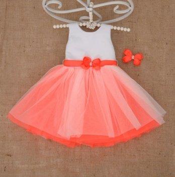 Платье Бетис Волшебница с заколкой атлас/фатин Оранжевый 27079856