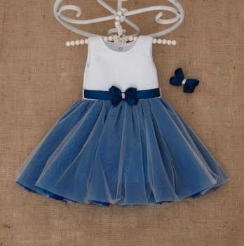Платье Бетис Волшебница с заколкой атлас/фатин Синий 27079868
