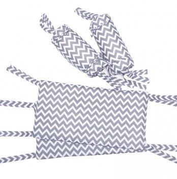 Защита для кроватки GoforKid Рассвет LC – full (высота 30 см длина 360 см) хлопок серый