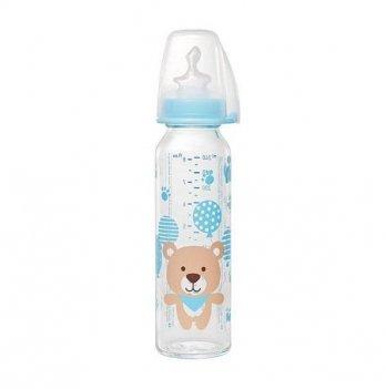 Стеклянная бутылочка для мальчика NIP, 250 мл, с соской силиконовой ортодонтической, средний поток М, 0-6 мес