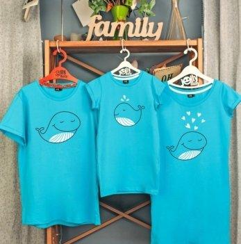 Фэмили лук, семейный Jolly Bully Семья китов, платья+футболка, дочь