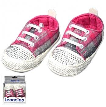 Пинетки для девочки со стразами, малиновые, возраст от 5 до 12 месяцев, Leoncino
