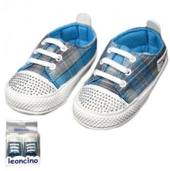 Пинетки для девочки со стразами, голубые, возраст от 5 до 12 месяцев, Leoncino