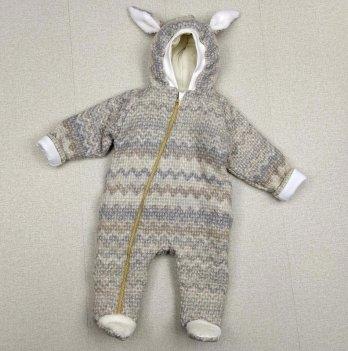 Комбинезон детский из шерсти на синтепоне PaMaYa Серый 0-9 мес 14-107