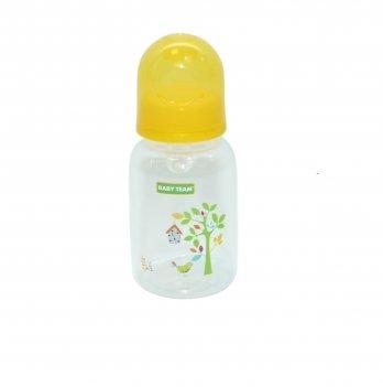 Бутылочка с силиконовой соской 0+ Baby Team 1400 желтый 125 мл