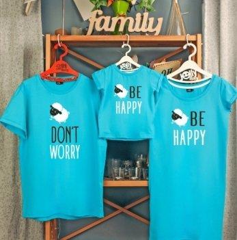 Фэмили лук, семейный Jolly Bully Don't worry, платье+футболки, сын