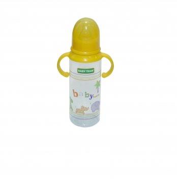 Бутылочка с ручками и силиконовой соской 0+ Baby Team 1411 желтый 250 мл