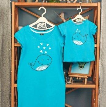 Фэмили лук для мамы и сына Jolly Bully Киты, платье + футболка
