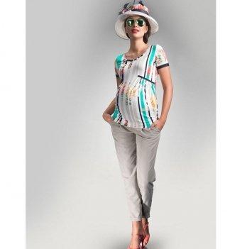 Футболка для беременных Dianora белая с цветами и полосками 1414 0953