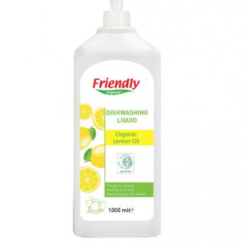 Средство для мытья посуды Friendly Organic,  Dishwashing Liquid Lemon, с лимонным соком, 1000 мл