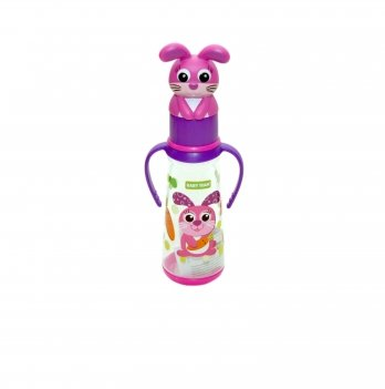 Бутылочка с ручками и силиконовой соской 0+ Baby Team 1414 зайчик 250 мл