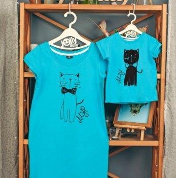 Фэмили лук для мамы и сына Jolly Bully Котики мур-мяу, платье + футболка