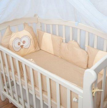 Защита для кроватки Бетис Совенятко с вышивкой кофейное поплин
