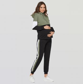 Спортивный костюм для беременных и кормящих Lullababe LeganеsЧерный/ХакиLB07LG329