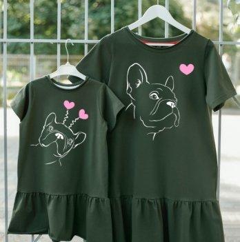 Фэмили лук платья Jolly Bully для Мамы и Дочки Французы с сердечками
