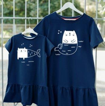 Фэмили лук платья Jolly Bully для Мамы и Дочки Кот-русалка