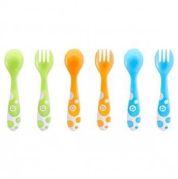 Набор: 3 ложки + 3 вилки, разноцветные, Munchkin