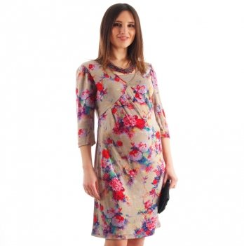 Платье для беременных и кормящих NowaTy Букет Бежевый
