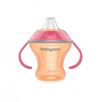 Кружка-непроливайка с мягким носиком, BabyOno Natural Nursing 180 мл, розовая