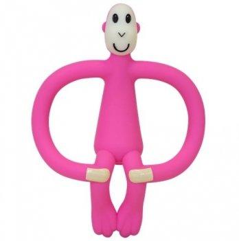 Игрушка-прорезыватель Matchistick Monkey Обезьянка, 10,5 см, розовая