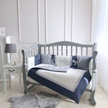 Комплект постельного белья для кроватки Маленькая Соня Royal 6 предметов синий